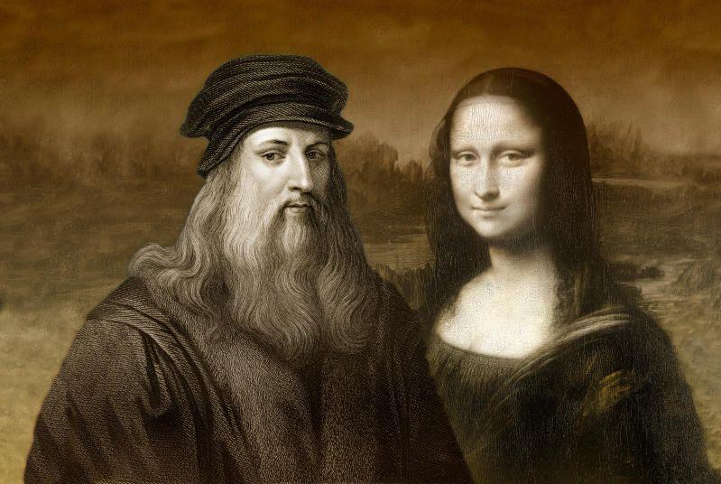 Portret Leonarda Da Vinci obok jednego z jego najsłynniejszych dzieł: Mona Lisa