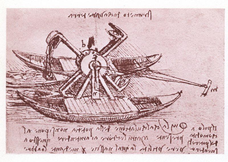 Leonardo da Vinci, projekt techniczny łodzi rzecznej.