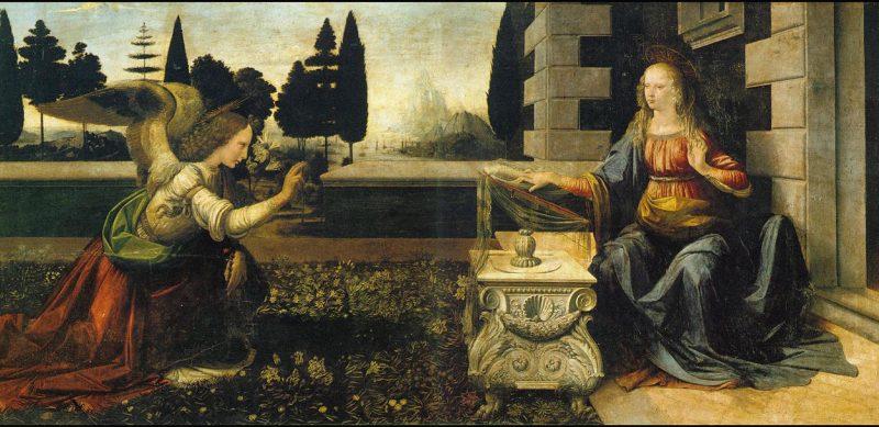 Leonardo da Vinci, Zwiastowanie.